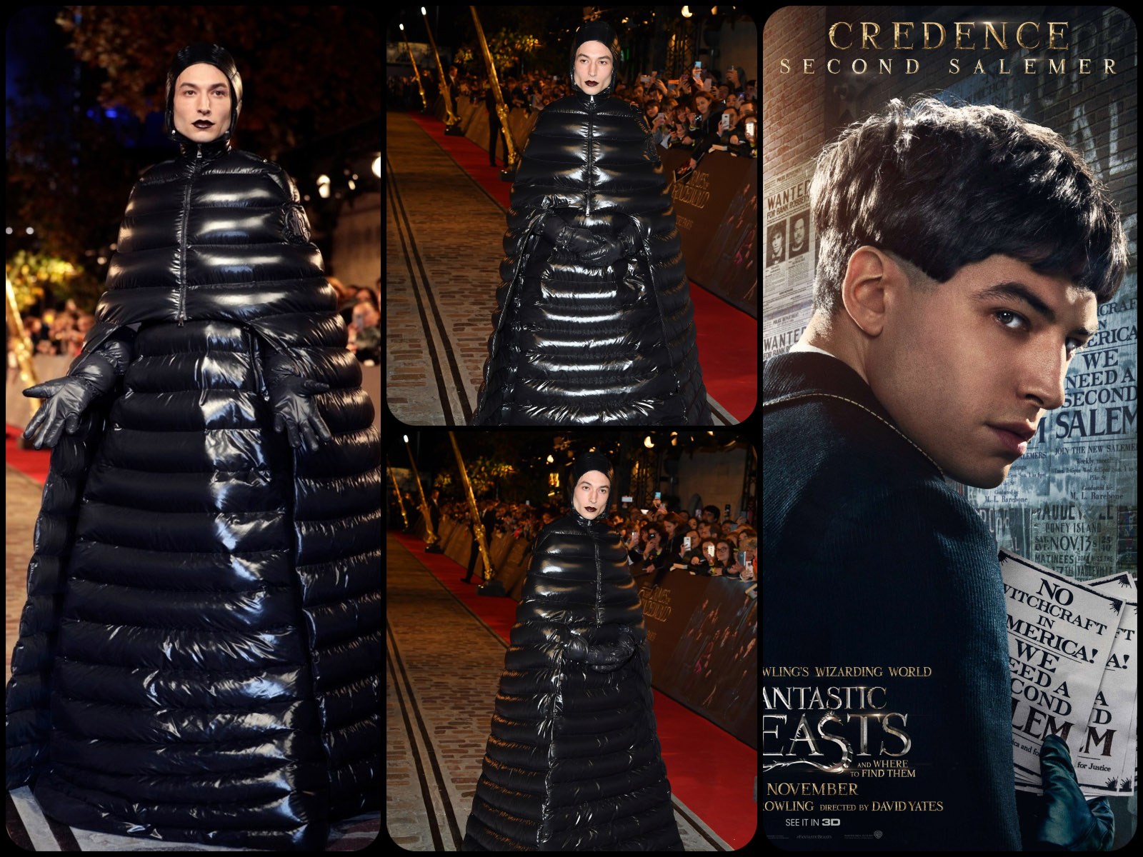 "Actor Ezra Miller at ""Fantastic Beasts"" Premiere 2018 in Moncler Puffer Coat Collection 2018 by Runway Magazine. Moncler puffer coat gown"