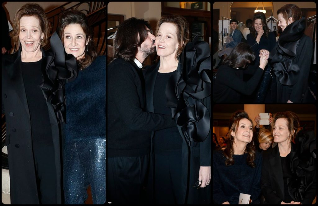 Special guests great actresses Sigorney Weaver and Valerie Lemercier at Spring Summer 2019 at Stephane Rolland show by Runway Magazine