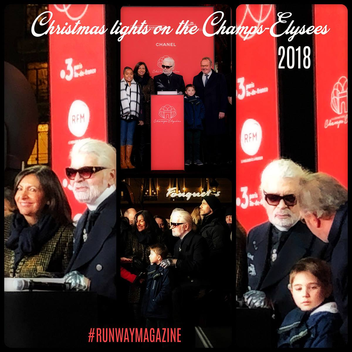 Karl Lagerfeld November 2018 at ceremony of Christmas lights by Runway Magazine