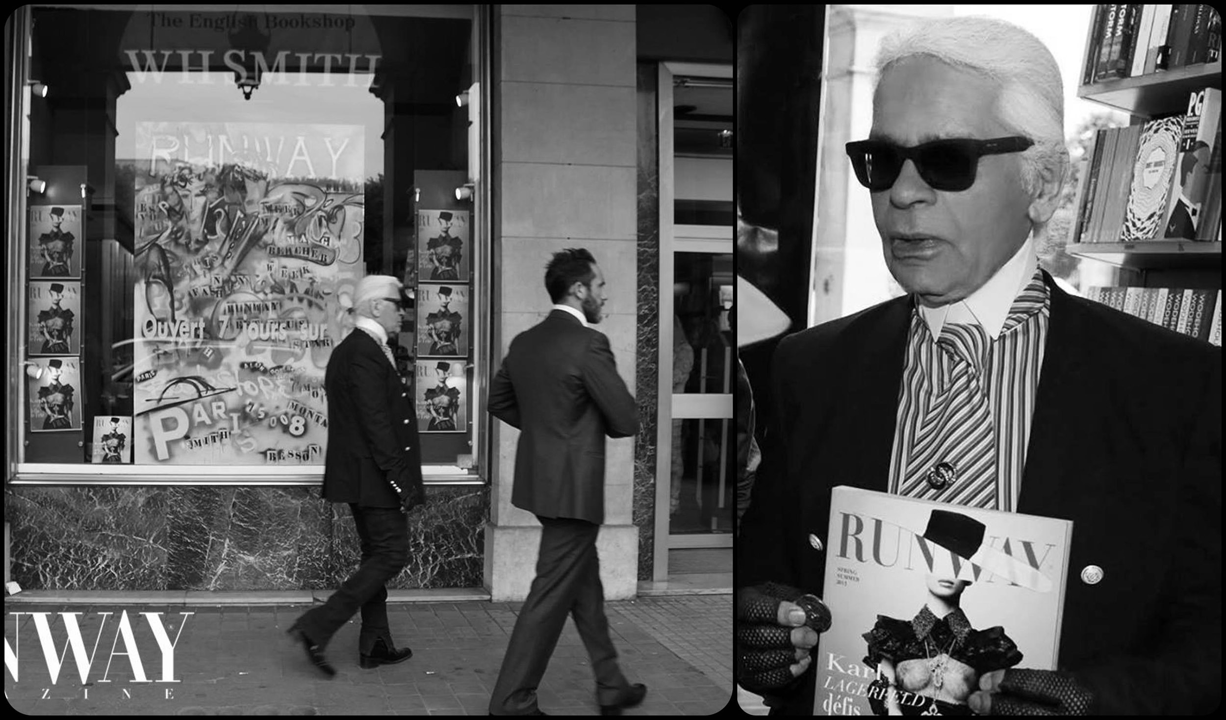 Karl Lagerfeld  at the official Runway Magazine party in WHSmith, Paris rue Rivoli, July 2013