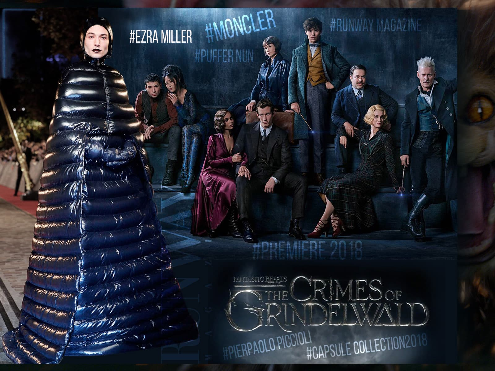 Ezra Miller - Fantastic Beasts Premiere. Moncler Puffer Coat Dress Collection 2018 by Pierpaolo Piccioli by Runway Magazine