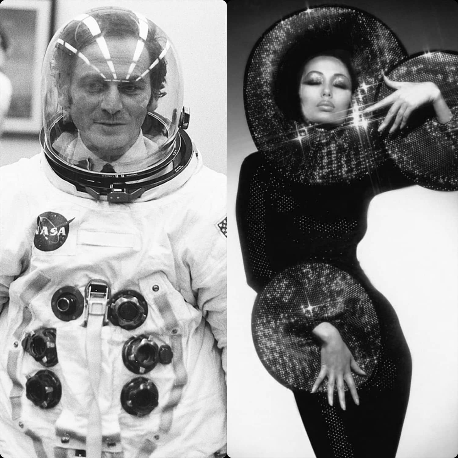 Pierre Cardin in Neil Arstrong suit in NASA by Runway Magazine