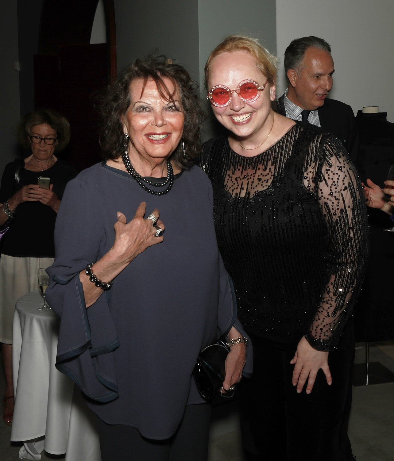 Claudia Cardinale at Sotheby's Paris auction opening with Eleonora de Gray Editor-in-Chief of Runway Magazine