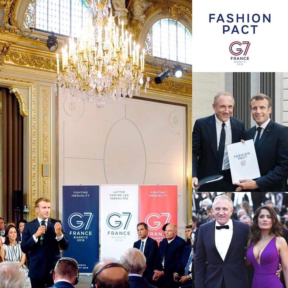 François-Henri Pinault and Emmanuel Macron - G7 Fashion Pact Biarritz 2019