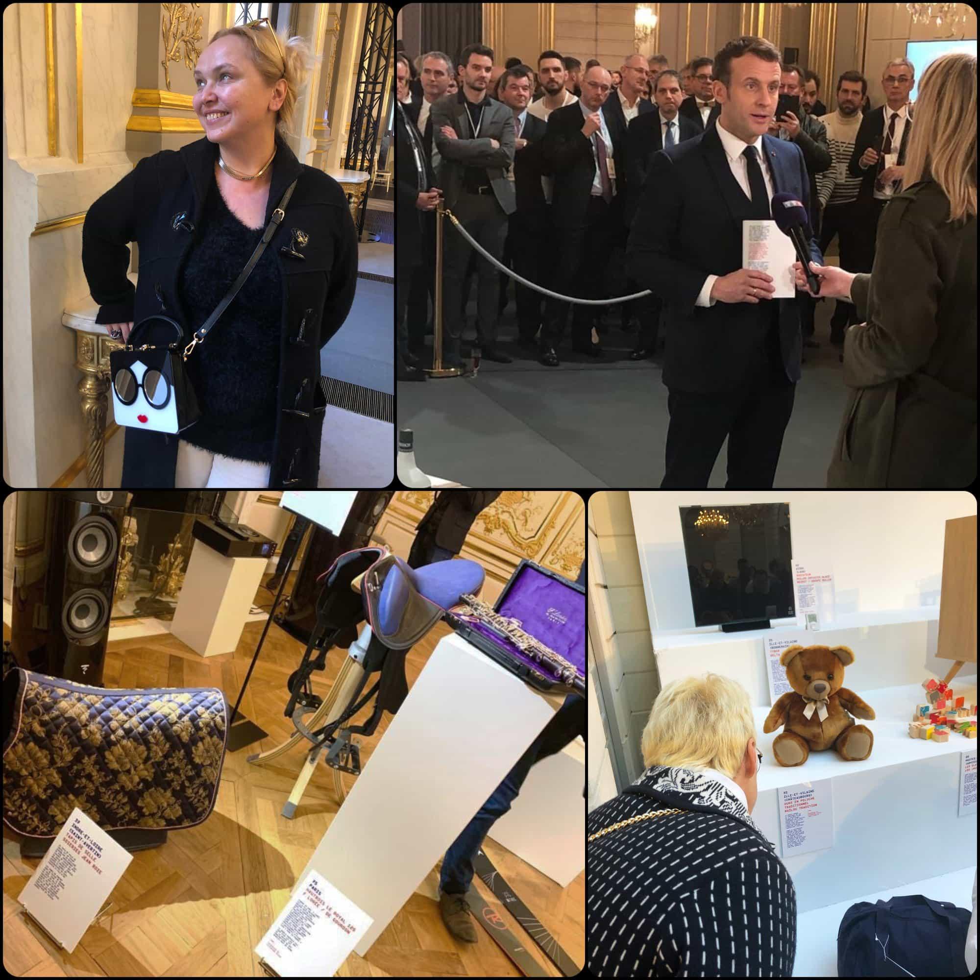 Emmanuel Macron opens Grand Exhibition at Elysée. Eleonora de Gray and Guillaumette Duplaix - RUNWAY MAGAZINE. Fabriqué en France à Présidence de la République par RUNWAY MAGAZINE
