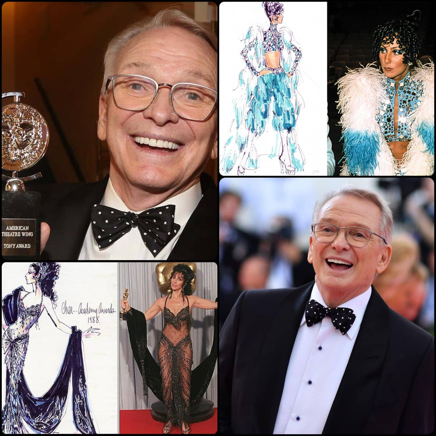 Bob Mackie and Cher - friendship of a lifetime. Costumes for Cher 1973 and Oscars 1988