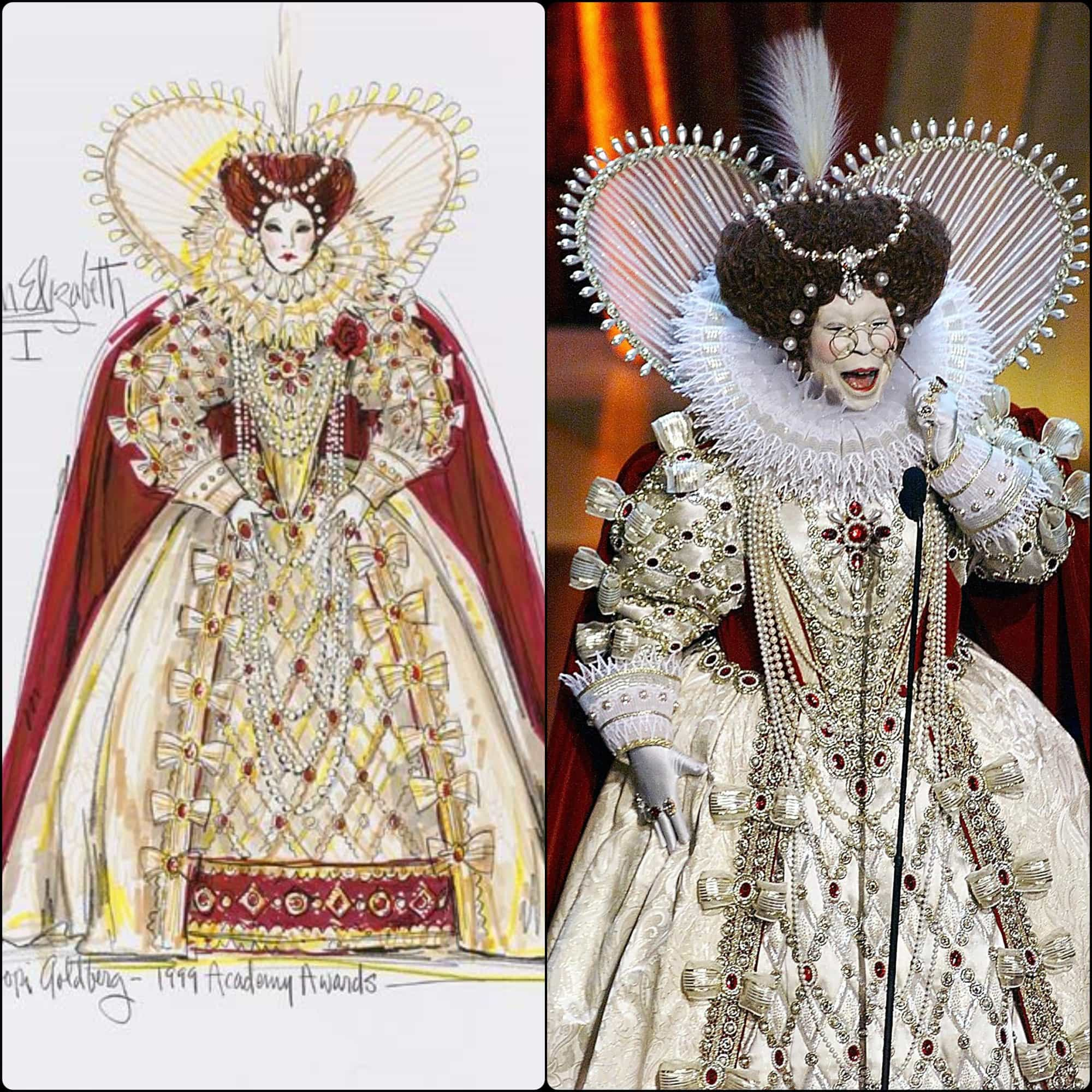 Bob Mackie costume Queen Elizabeth I for Whoopi Goldberg - host at Oscars Academy Awards 1999