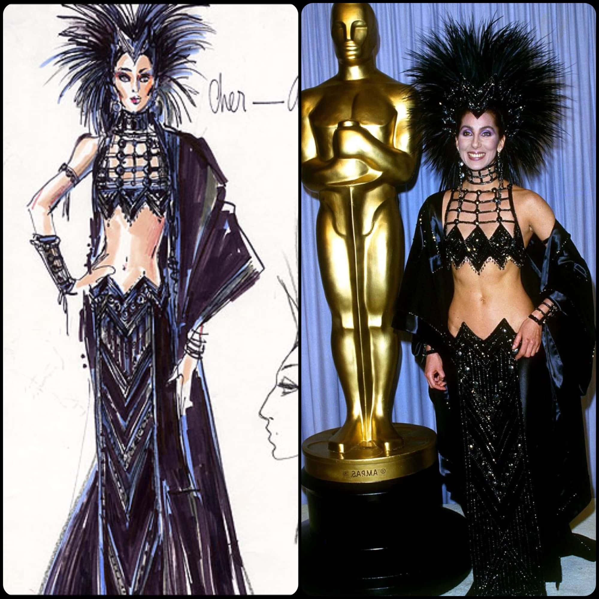 Cher in Bob Mackie dress at Oscars Academy Awards