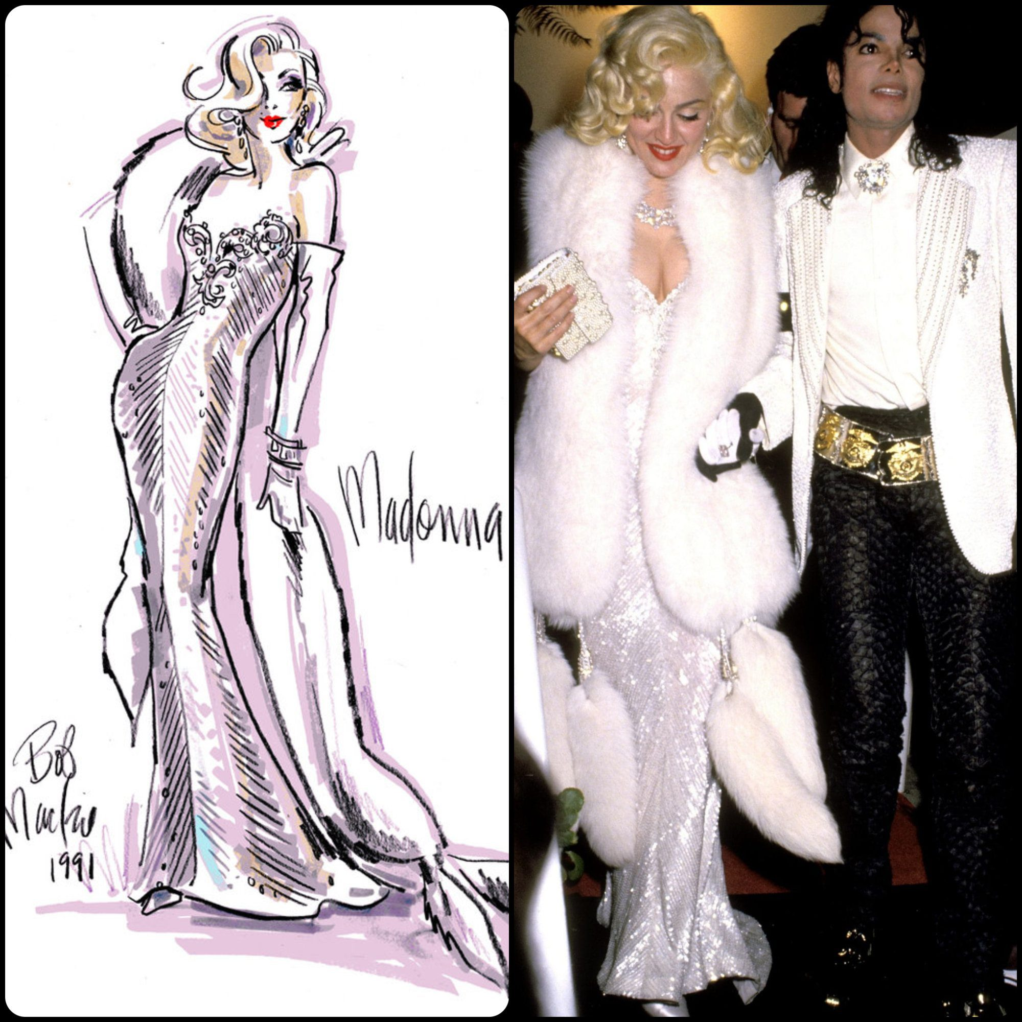 Madonna in Bob Mackie dress with Mickael Jackson at Oscars Academy Awards 1991