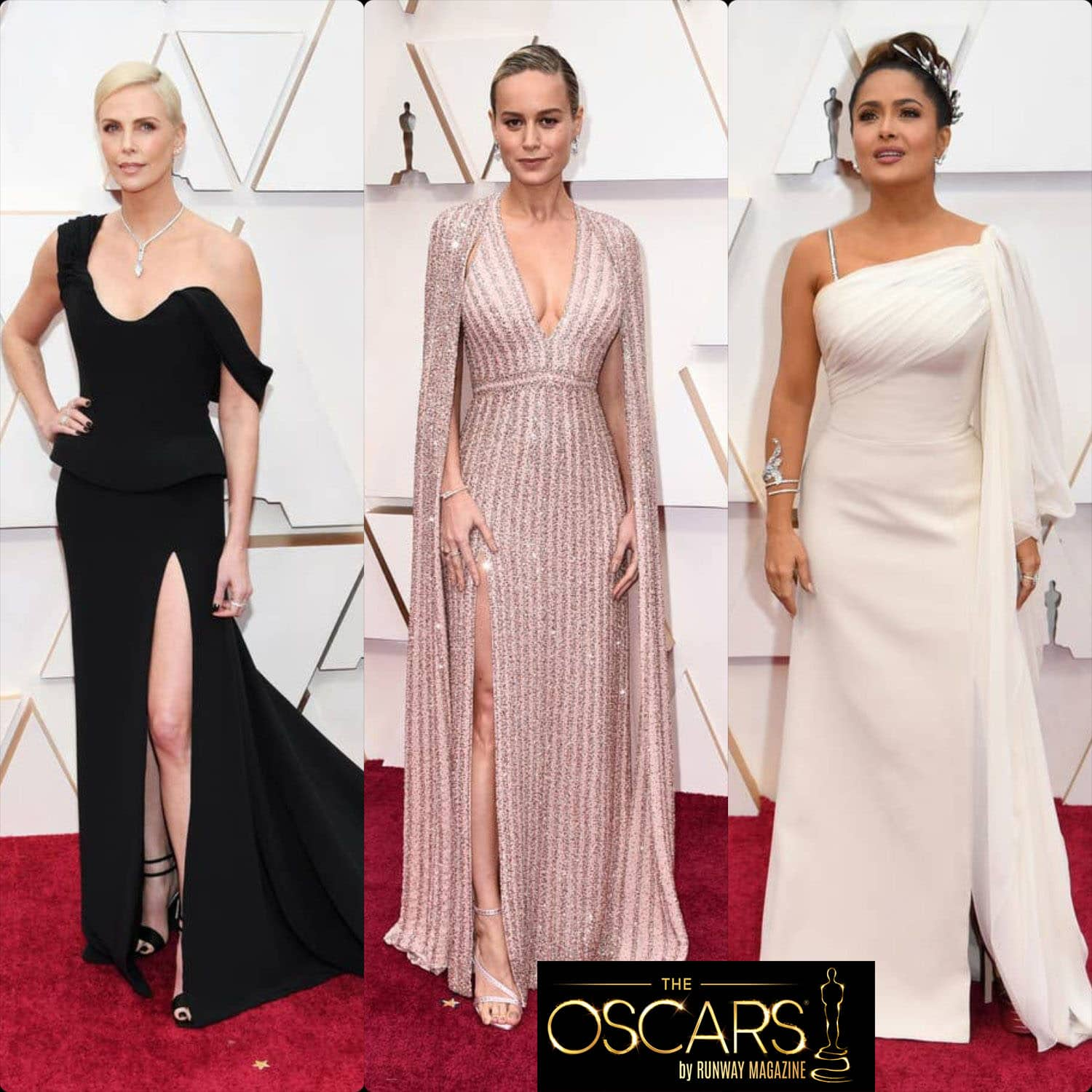 Charlize Theron in Dior, Brie Larson in Celine, Salma Hayek in Gucci at the 2020 Oscars by RUNWAY MAGAZINE