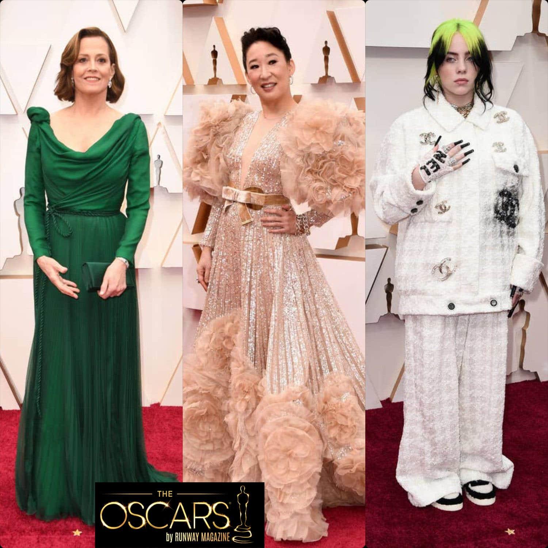 Sigourney Weaver in DIOR rag, Sandra Oh in Elie Saab, Billie EIlish in CHANEL at the 2020 Oscars by RUNWAY MAGAZINE
