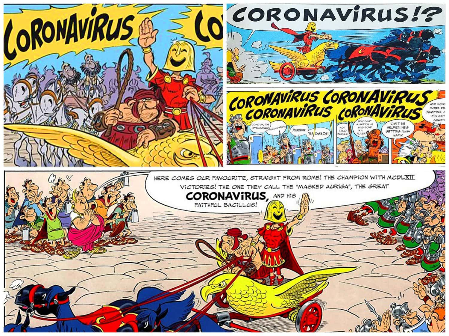 Astérix et la Transitalique - Asterix and the Chariot Race 2017 - Book dedicated to Coronavirus
