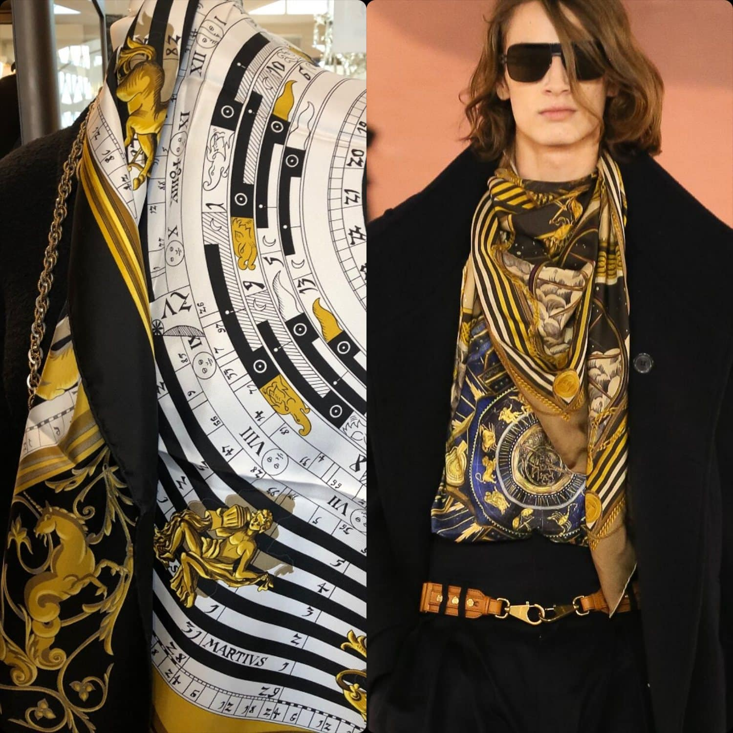 From left to right - Hermes 1990 silk scarf vs Balmain Fall Winter 2020 -2021