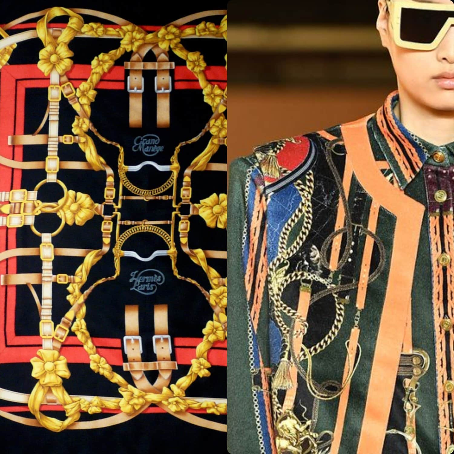 From left to right Hermes 1990 -Grand Manege- design by Henri d'Origny vs Balmain menswear Fall Winter 2020 -2021
