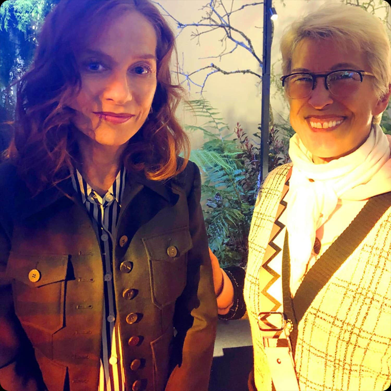 Isabelle Huppert and Guillaumette Duplaix (RUNWAY MAGAZINE Editor) at Delvaux Fall-Winter 2020-2021 Paris Fashion Week