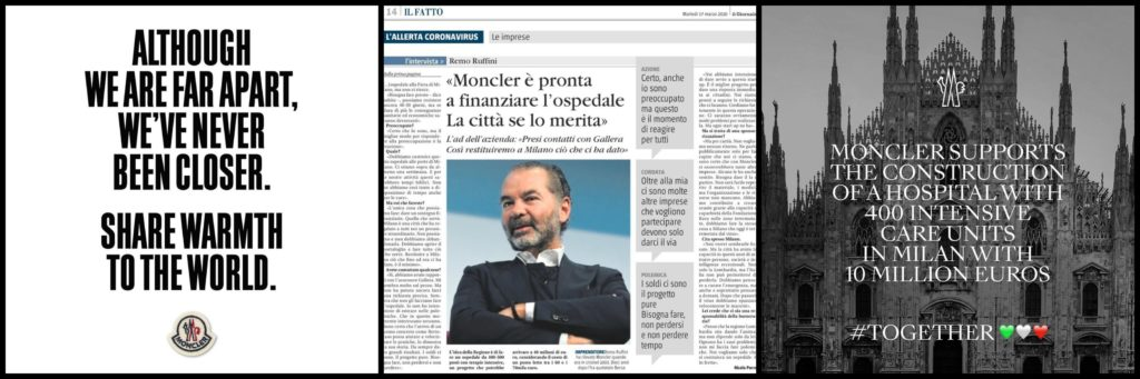 Remo Ruffini CEO of Moncler donated 10 million euros to buid hospital in Lombardy