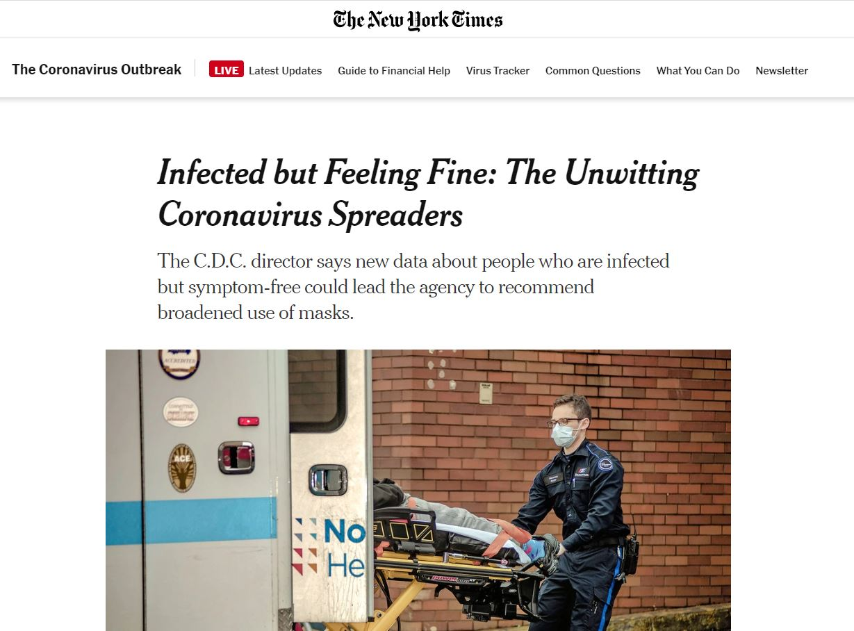 New York Times -unwitting coronavirus spreaders - broaden use of masks