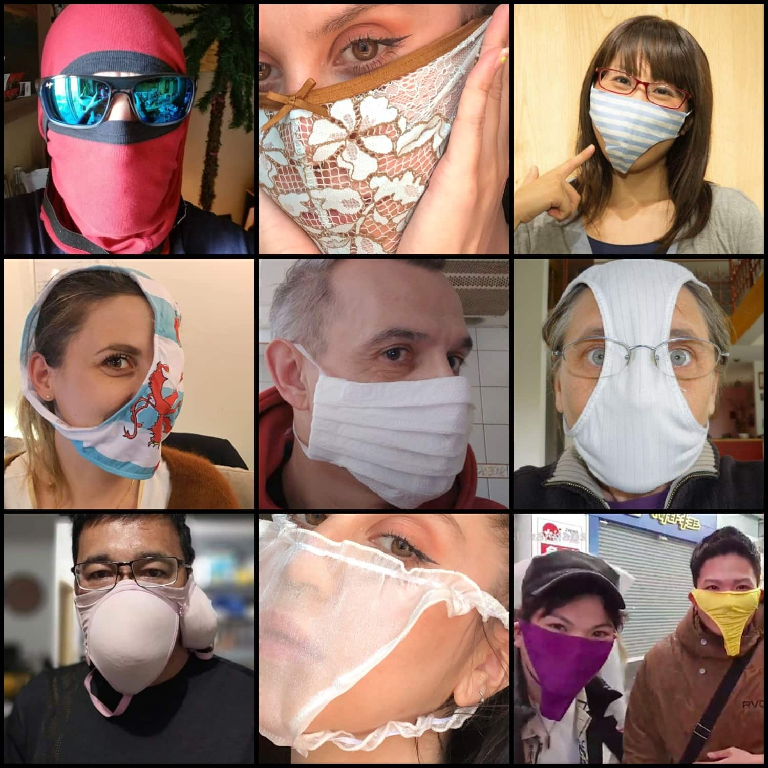 Useless and plain stupid ways to make face masks for protection against coronavirus. Panties can make you look very glamorous - that's what bloggers are trying to sell today on instagram. Men Boxers can make you look like a ninja or spiderman. Various underwear, bras included can make you look just plain stupid. Toilet paper face masks (photo in the middle) might look dissent at first but.... it is still toilet paper on the face.