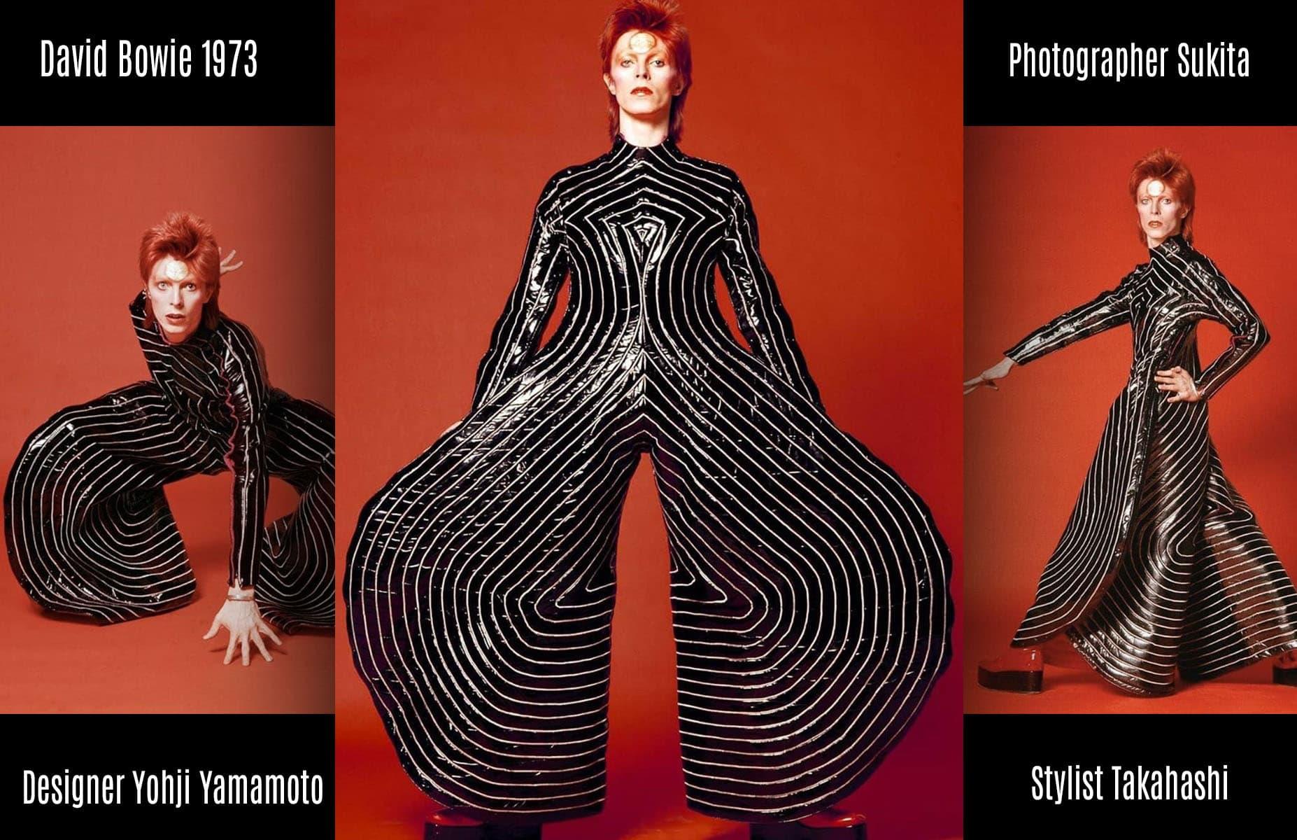 大卫·鲍伊(David Bowie)1973年–设计师山本耀司(Yohji Yamamoto),设计师高桥(Kakahashi),摄影师须田(Sukita)