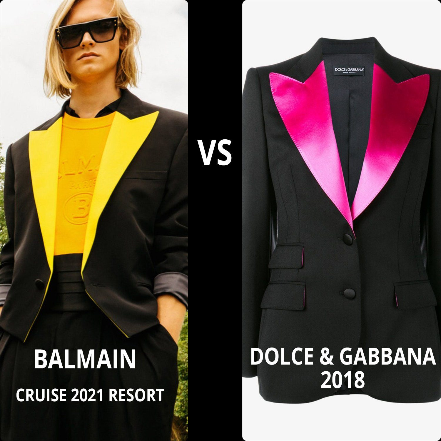 Balmain Cruise 2021 Resort vs DOLCE GABBANA 2018