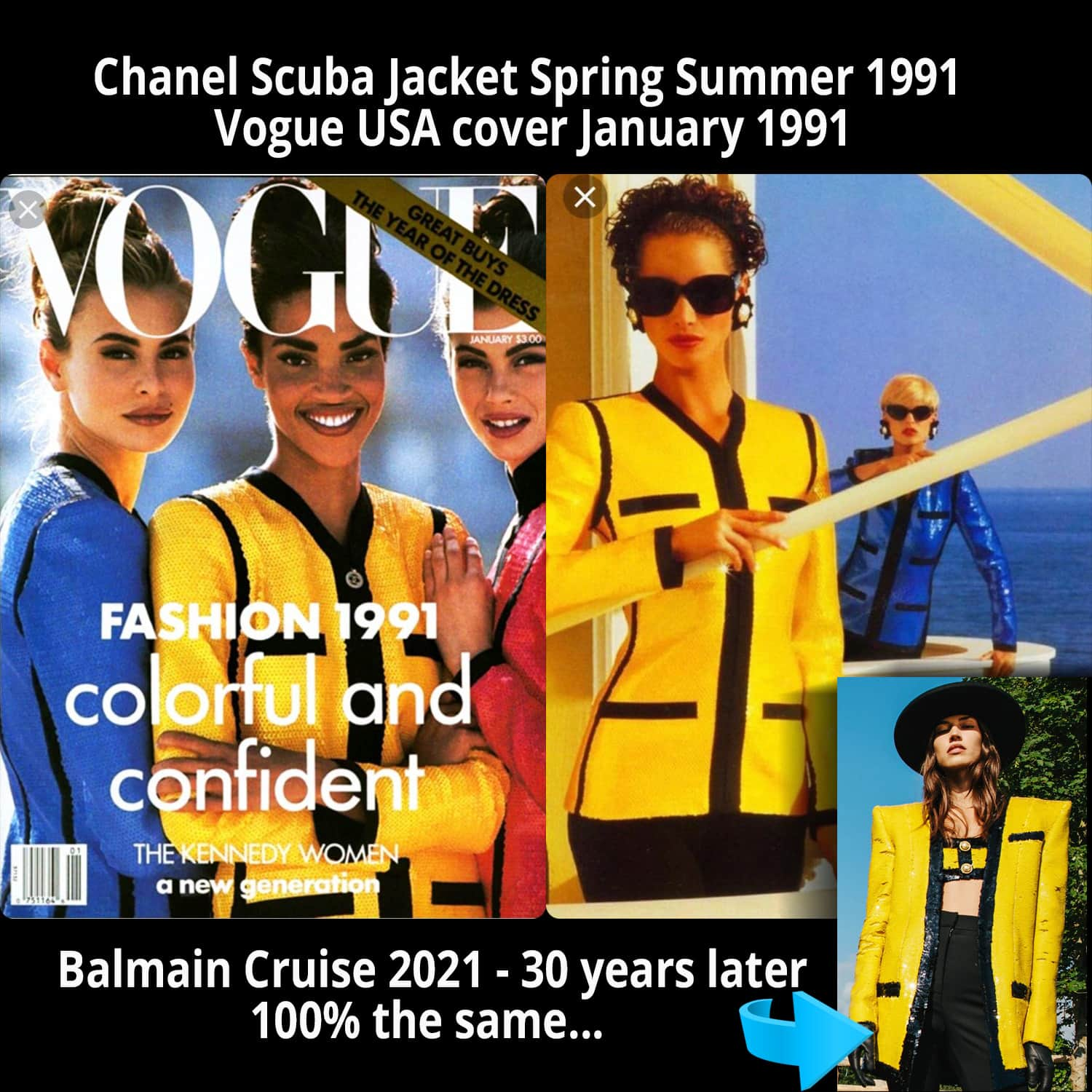 Balmain Cruise 2021 vs Chanel Yellow Sequin Scuba Jacket shown on Vogue Cover January 1991