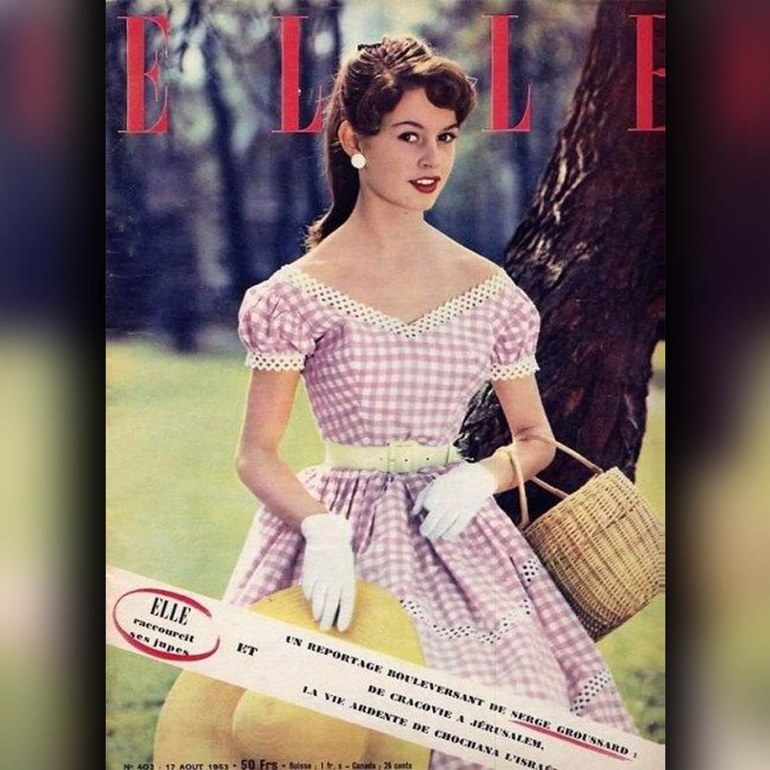 Brigitte Bardot in pink Vichy dress on the cover of ELLE in 1955