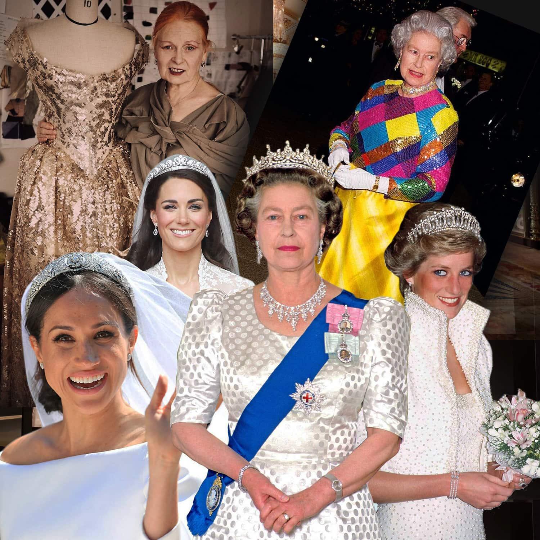 Elizabeth II, Princess Diana, Kate Middleton, Meghan Markle - Royal Wardrobe, famous Queen dress by Vivienne Westwood