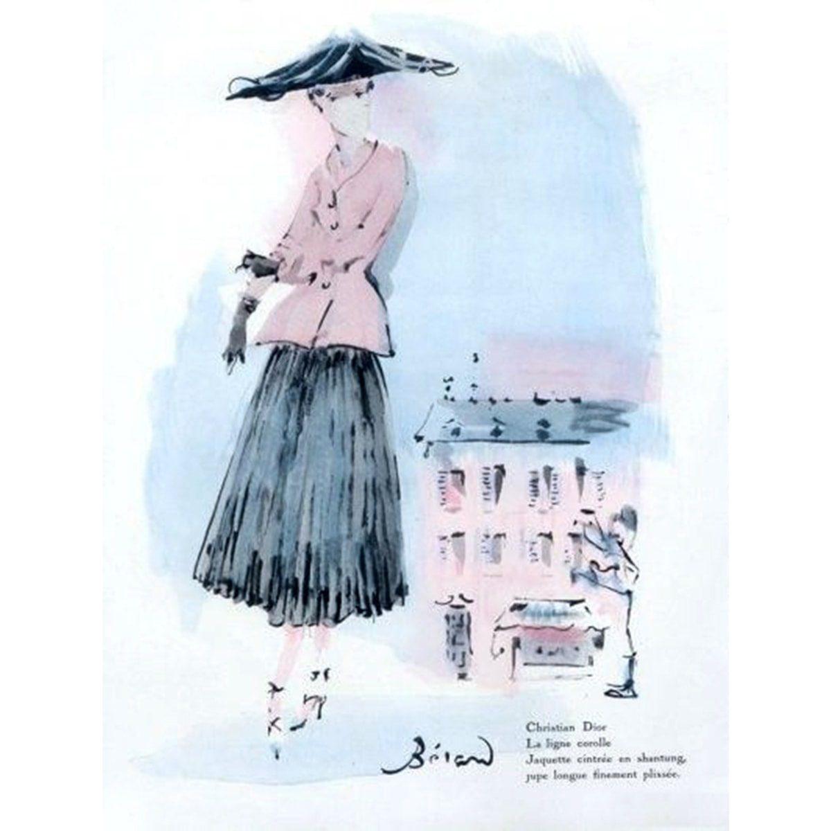 Illustration of Christian Bérard 1947 for Christian Dior