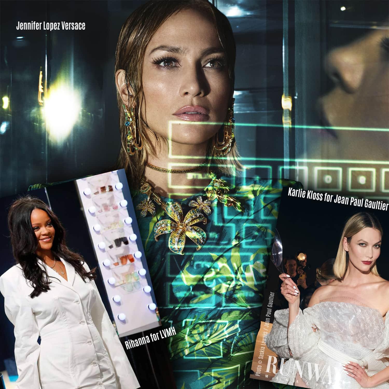 Jennifer Lopez Versace, Karlie Kloss for Jean Paul Gaultier, Rihanna for LVMH, seasons 2019-2020