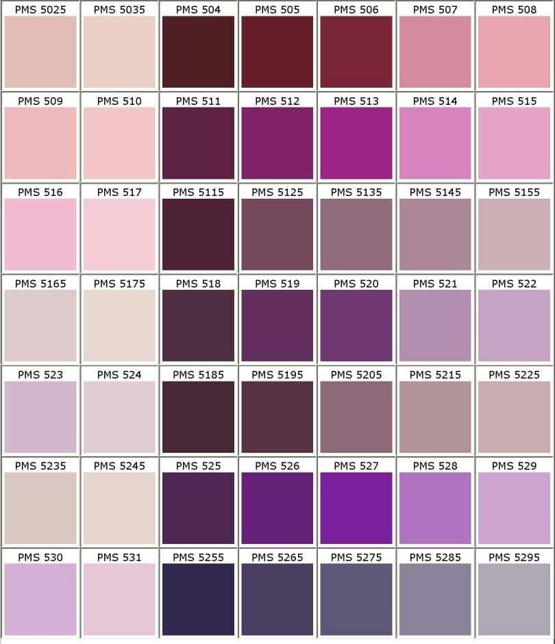 Pantone palette PINK to Violet