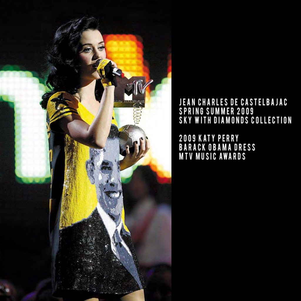 JC de Castelbajac-Summer 2009-Katy Perry in Barack Obama dress-MTV awards-In the Sky Collection