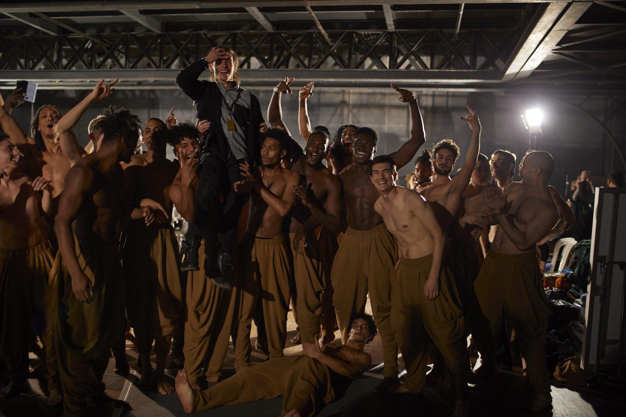 Dancers backstage at the Balmain men's fall 2020 show. Photo: Francisco Gomez de Villaboa/WWD