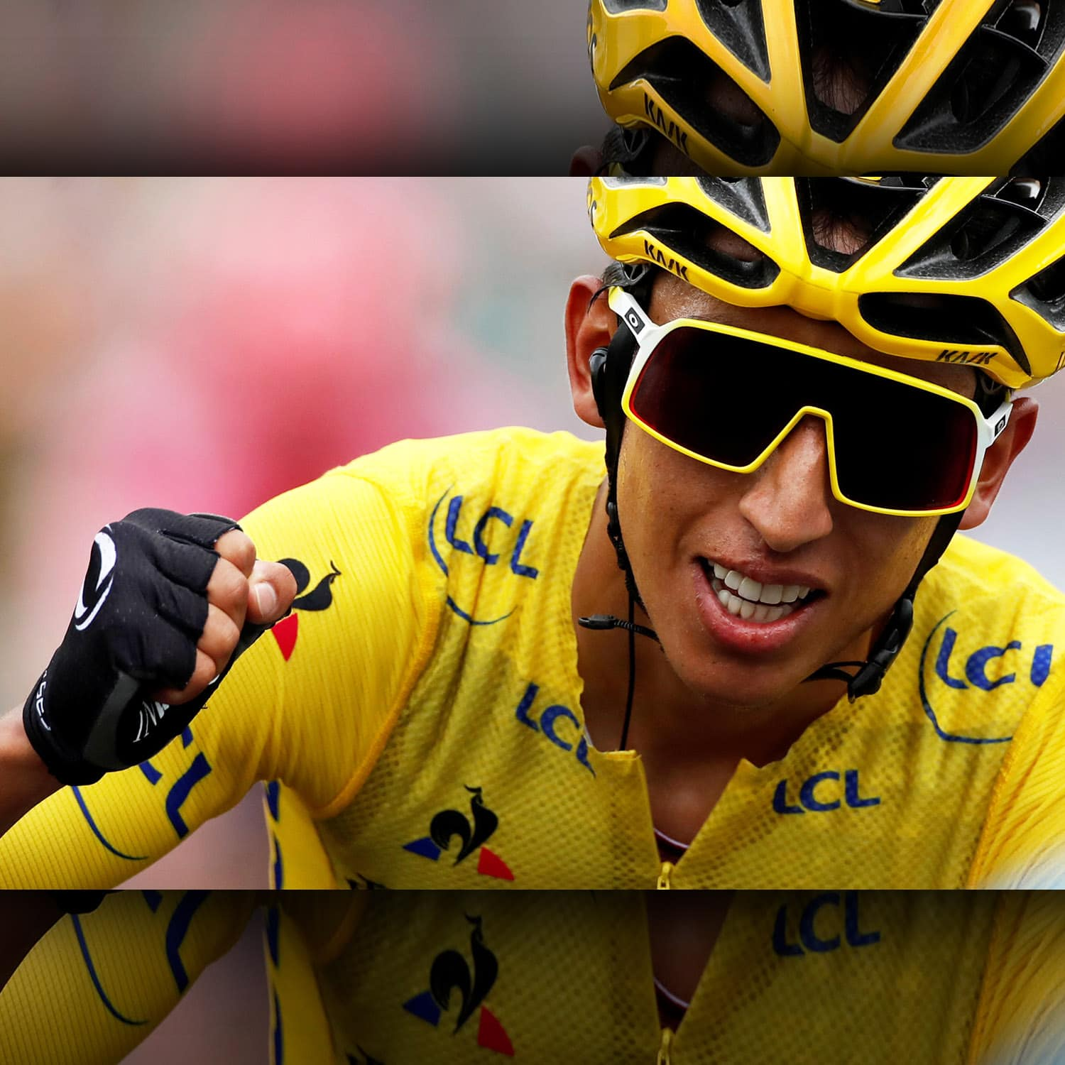 Egan Bernal in yellow jersey - iconic winner of Tour de France