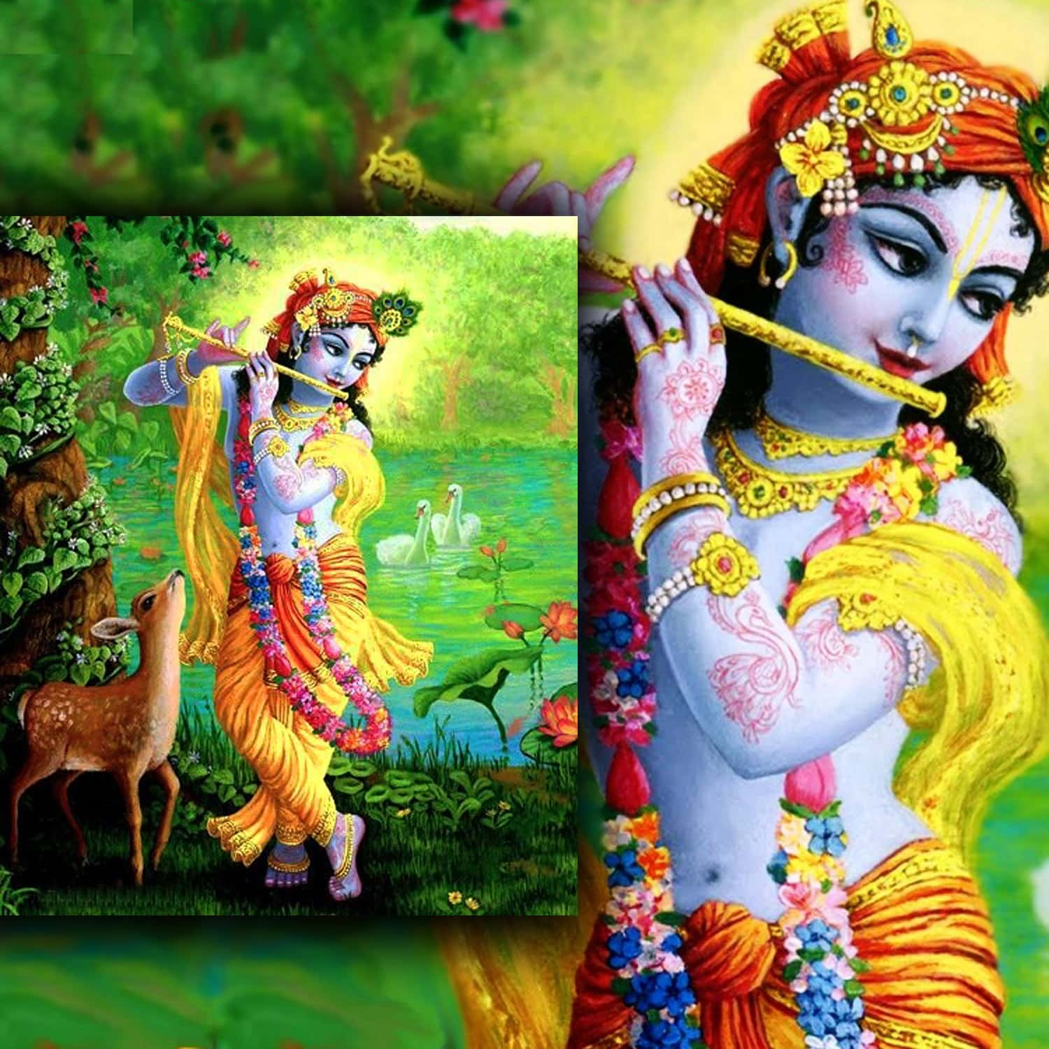 Lord Krishna with flute - wearing yellow symbol of wisdom