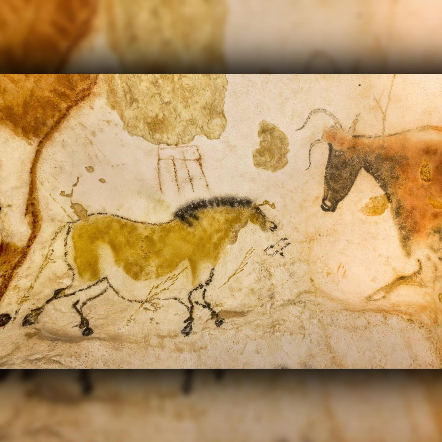 The Lascaux cave in France has a painting of a 17,000 year old yellow horse.