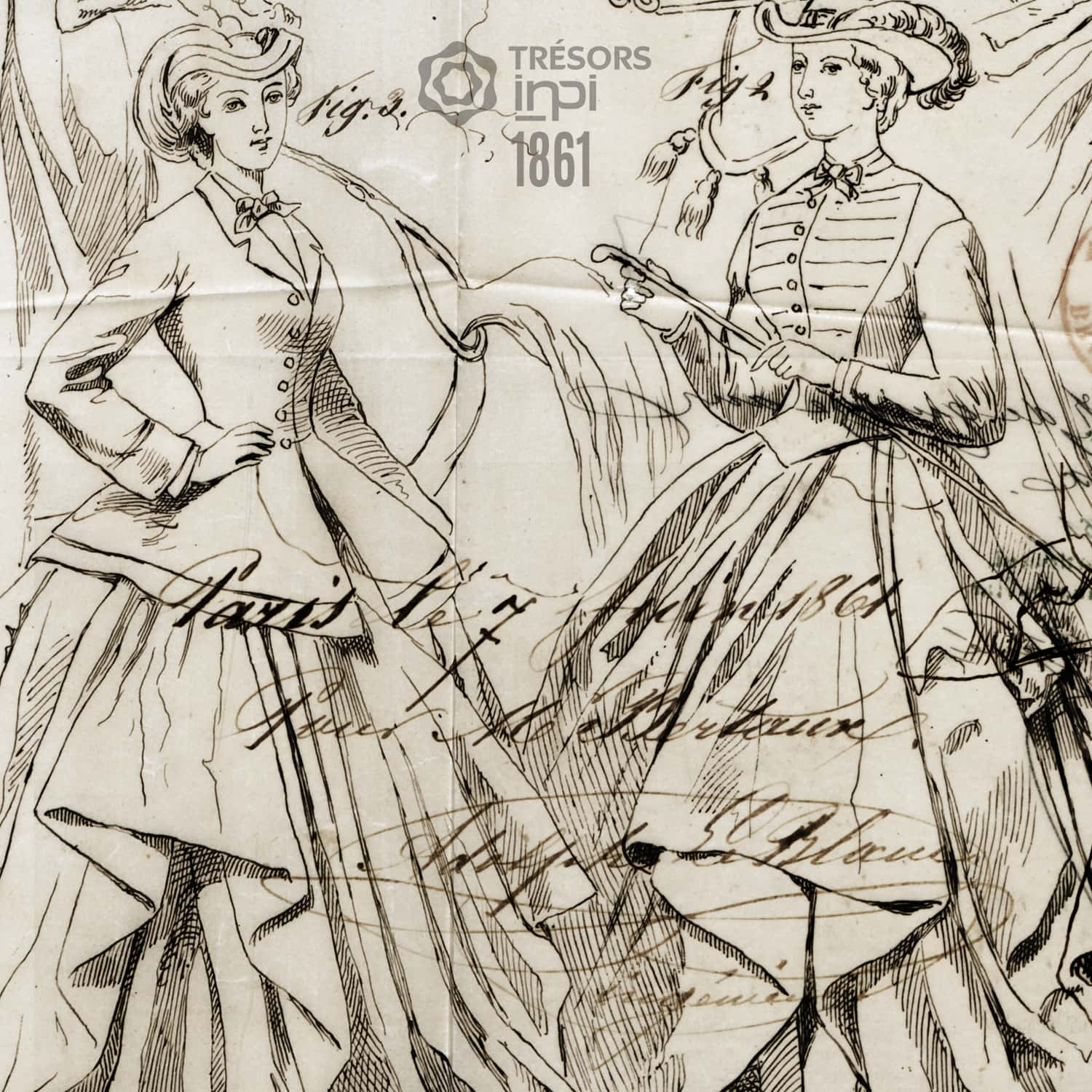 Bertaux 1861 invention for Amazon costumes - INPI archives