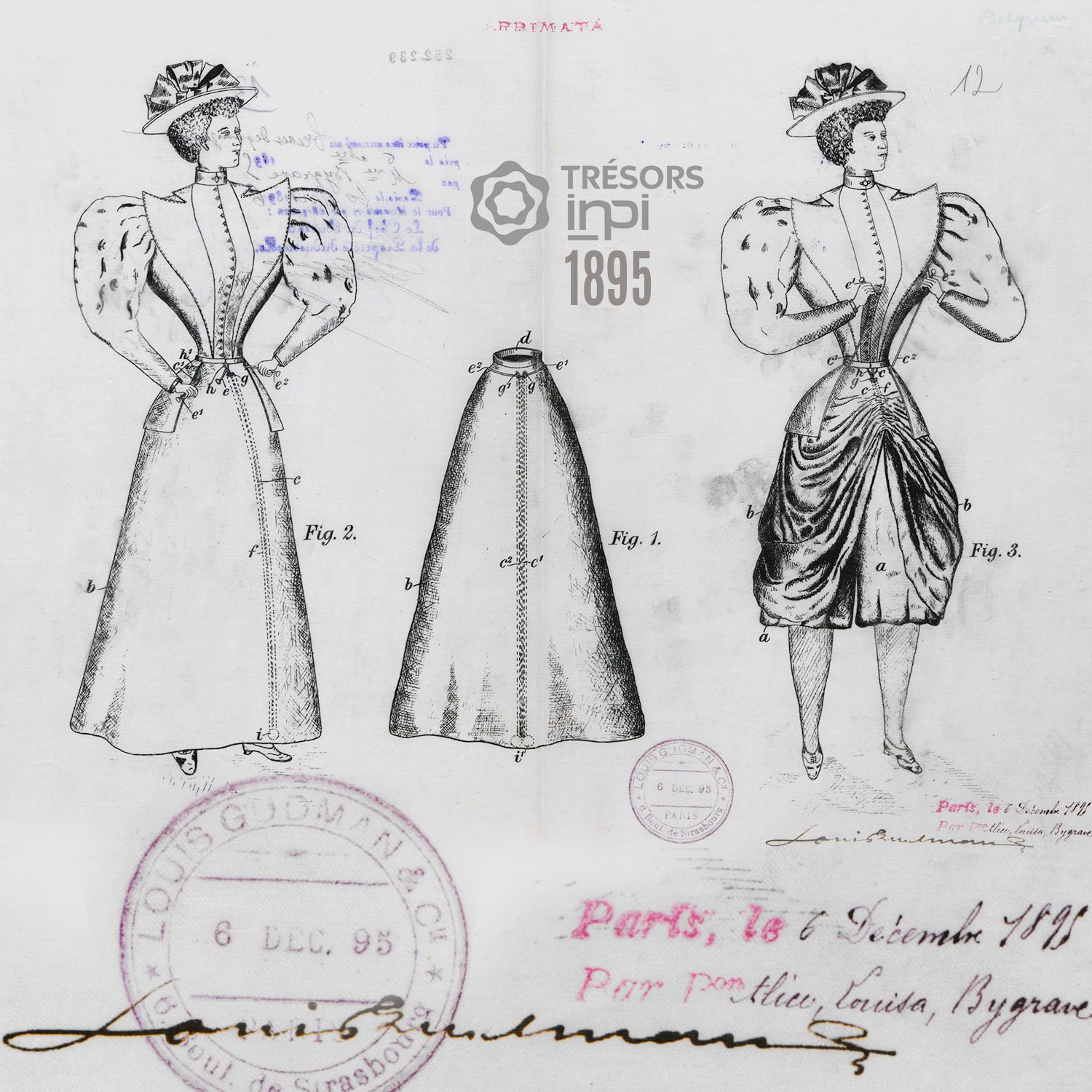 Alice-Louisa Bygrave 1895 skirt for cyclists invention - INPI archives
