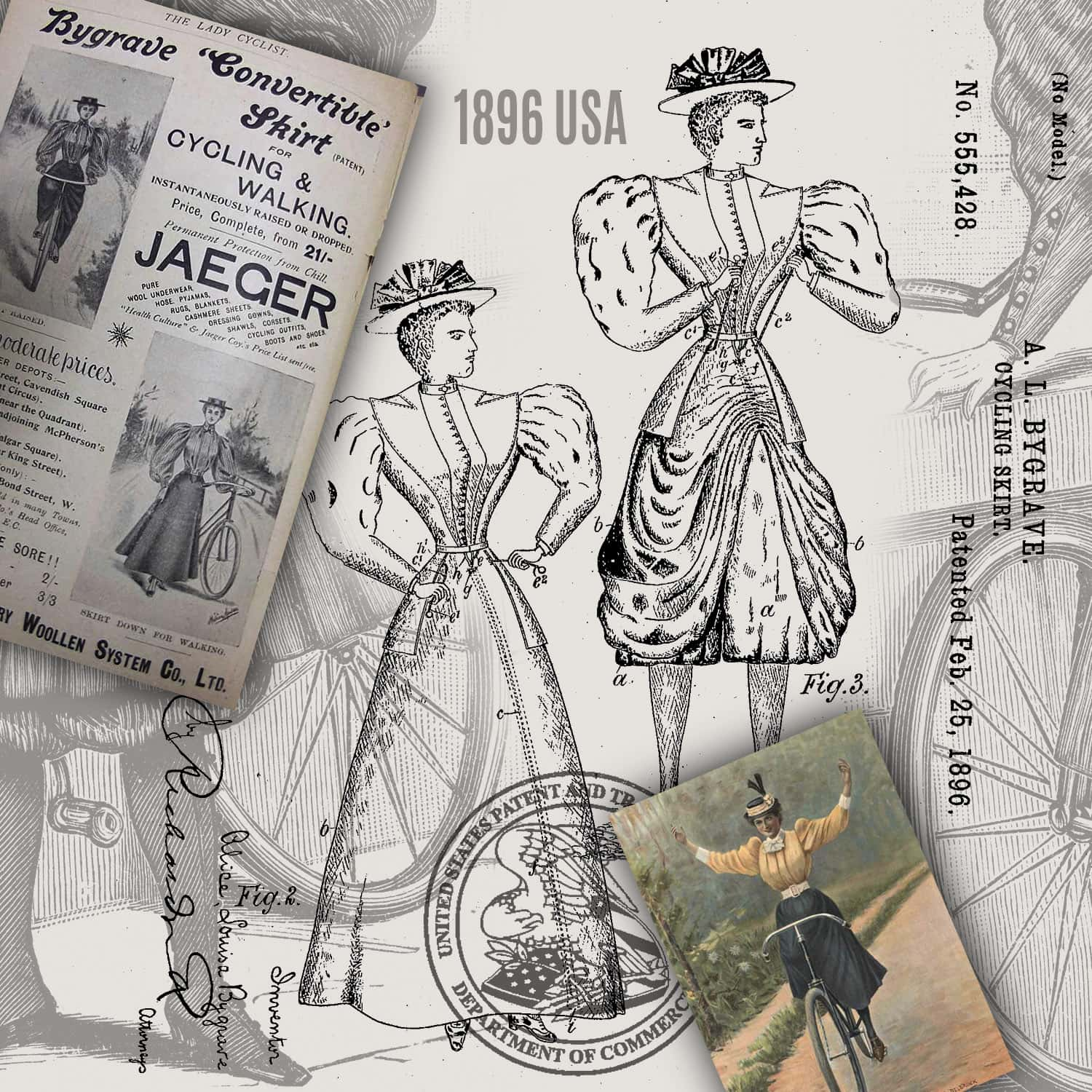 Alice-Louisa Bygrave 1896 skirt for cyclists invention - USPTO archives