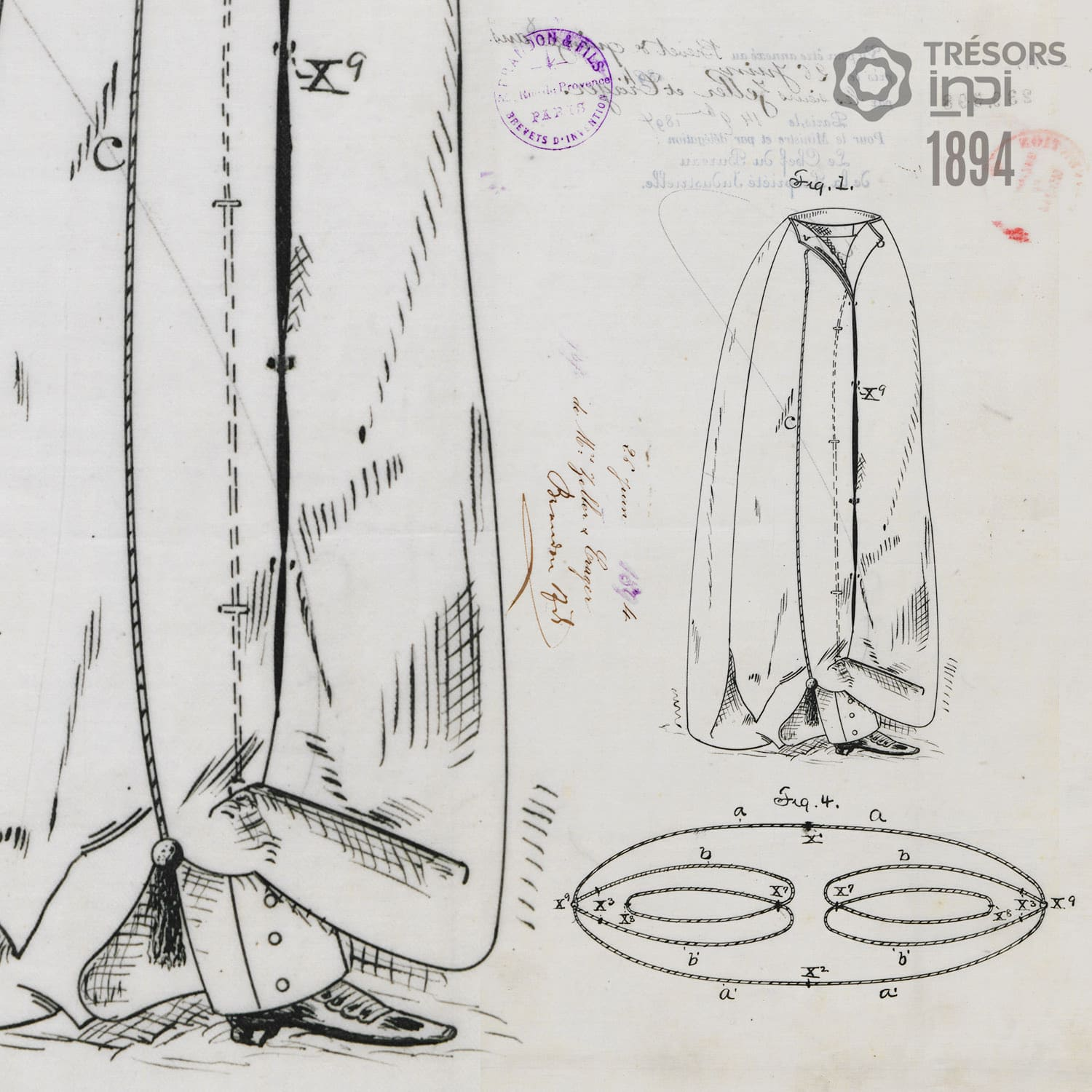 Bernard Zeller, Henry Crager 1894 combined skirt and pants invention - INPI archives