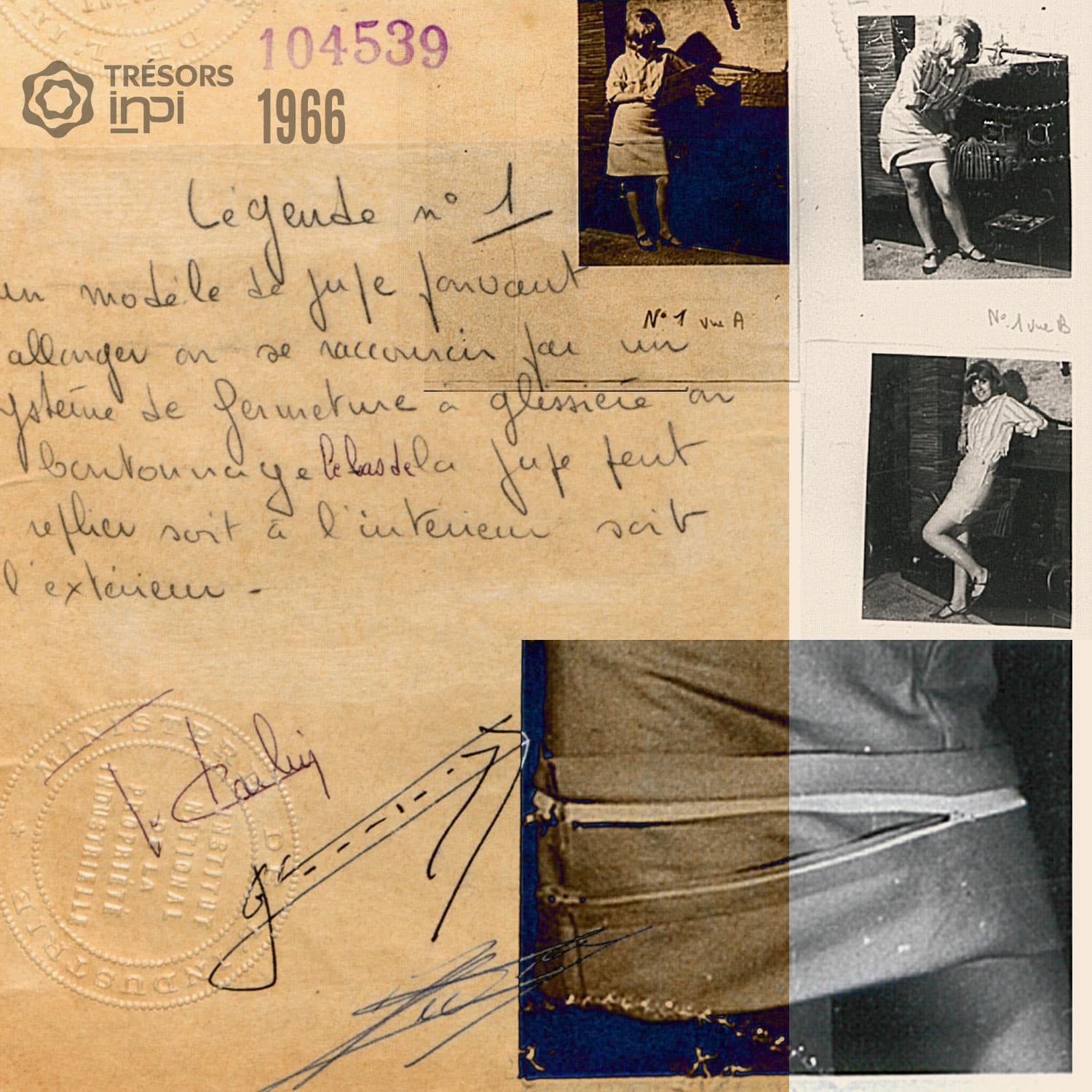 Jacques Cerveau, Jacques Godingen, Joelle Charlin 1966 transformable mini-skirt invention - INPI archives