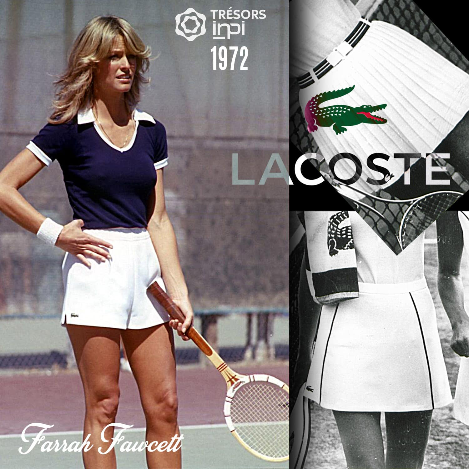 Lacoste 1972 tennis mini-skirt invention - Lacoste for Farrah Fawcett - INPI archives