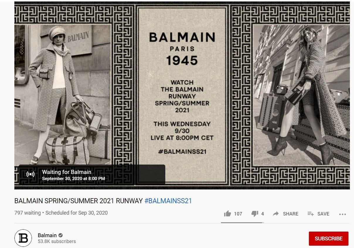 Balmain Spring Summer 2021 - screen youtube number of followers