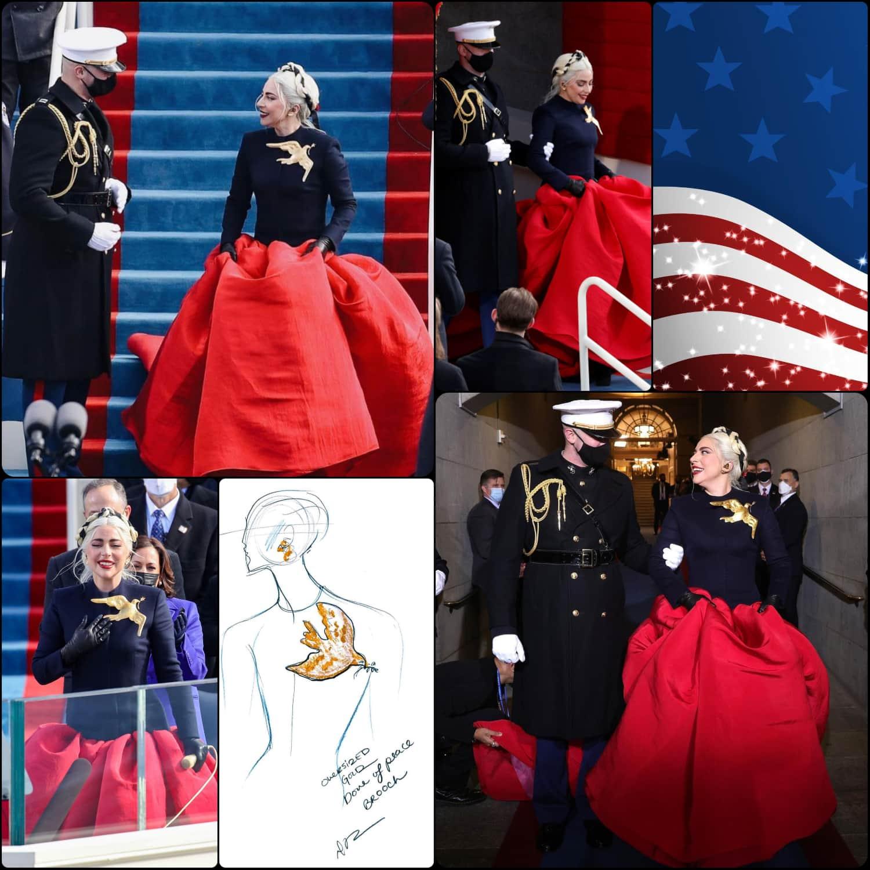 Inauguration of President Joe Biden - Lady Gaga in Schiaparelli dress by Daniel Roseberry -RUNWAY MAGAZINE