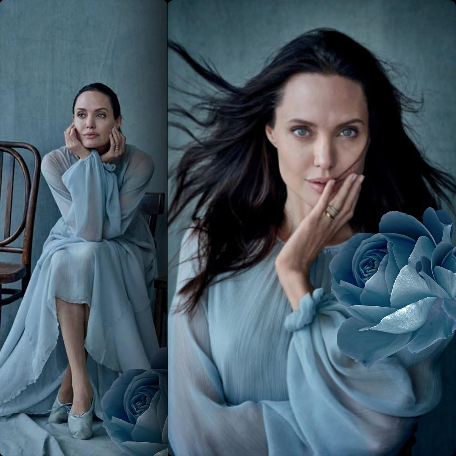 Angelina Jolie wearing Luisa Beccaria. Vanity Fair Italia Cover Story. Photo by Peter Lindbergh