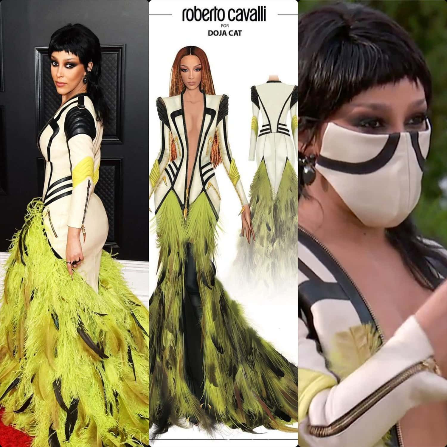 Doja Cat in Roberto Cavalli dress designed by Fausto Puglisi Grammy Awards 2021 by RUNWAY MAGAZINE