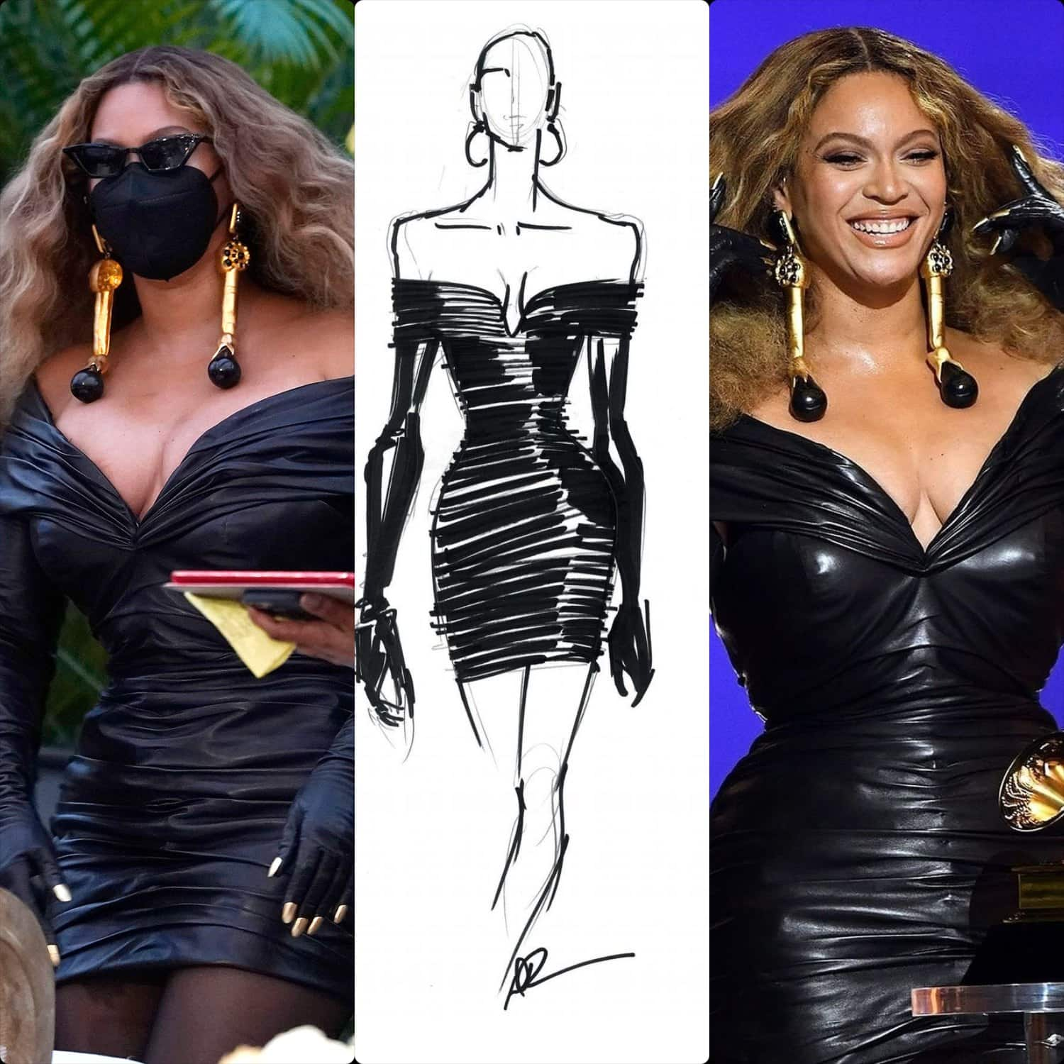 Beyonce in Schiaparelli by Daniel Roseberry dress Grammy Awards 2021 by RUNWAY MAGAZINE