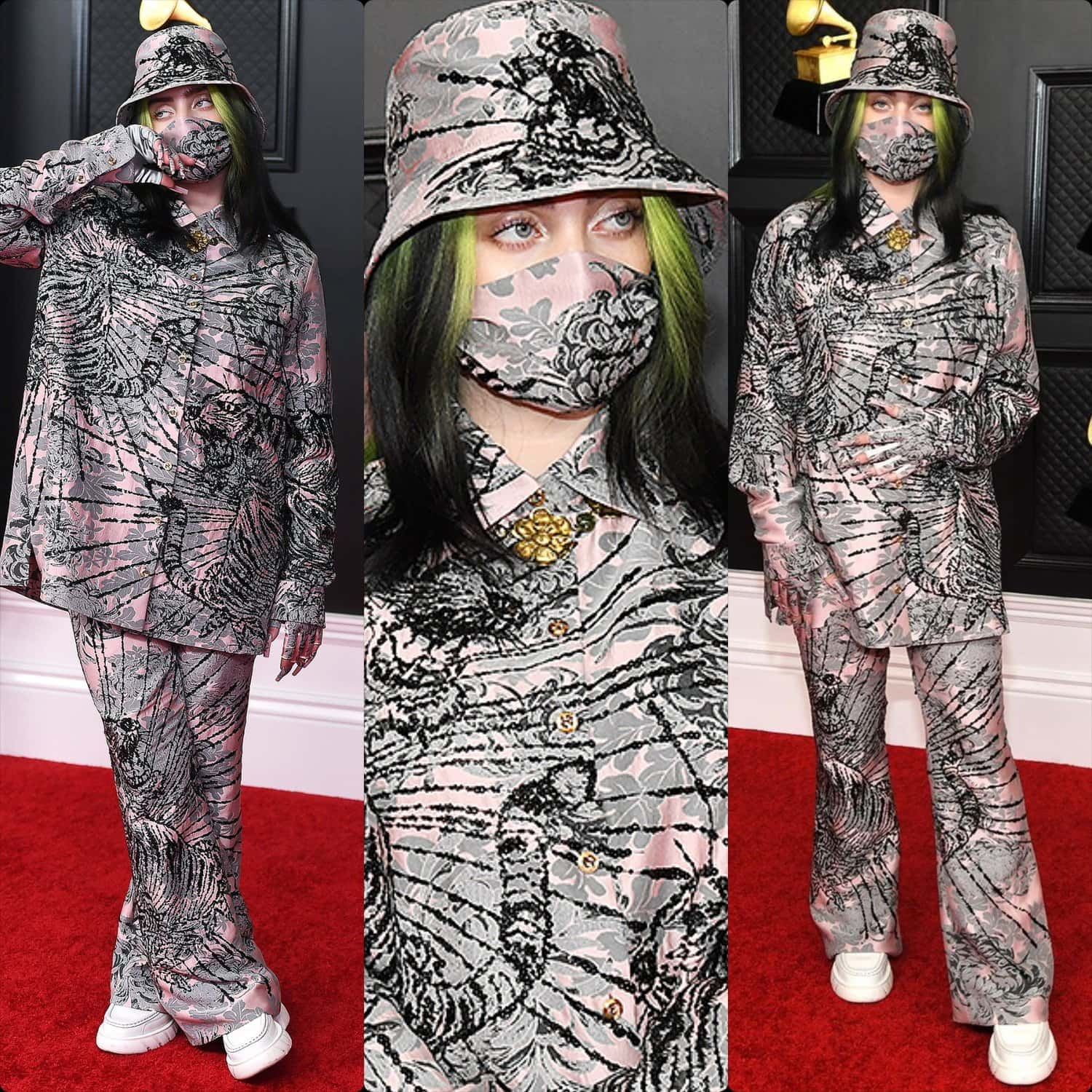 Billie Eilish in Gucci for Grammy Awards 2021 by RUNWAY MAGAZINE