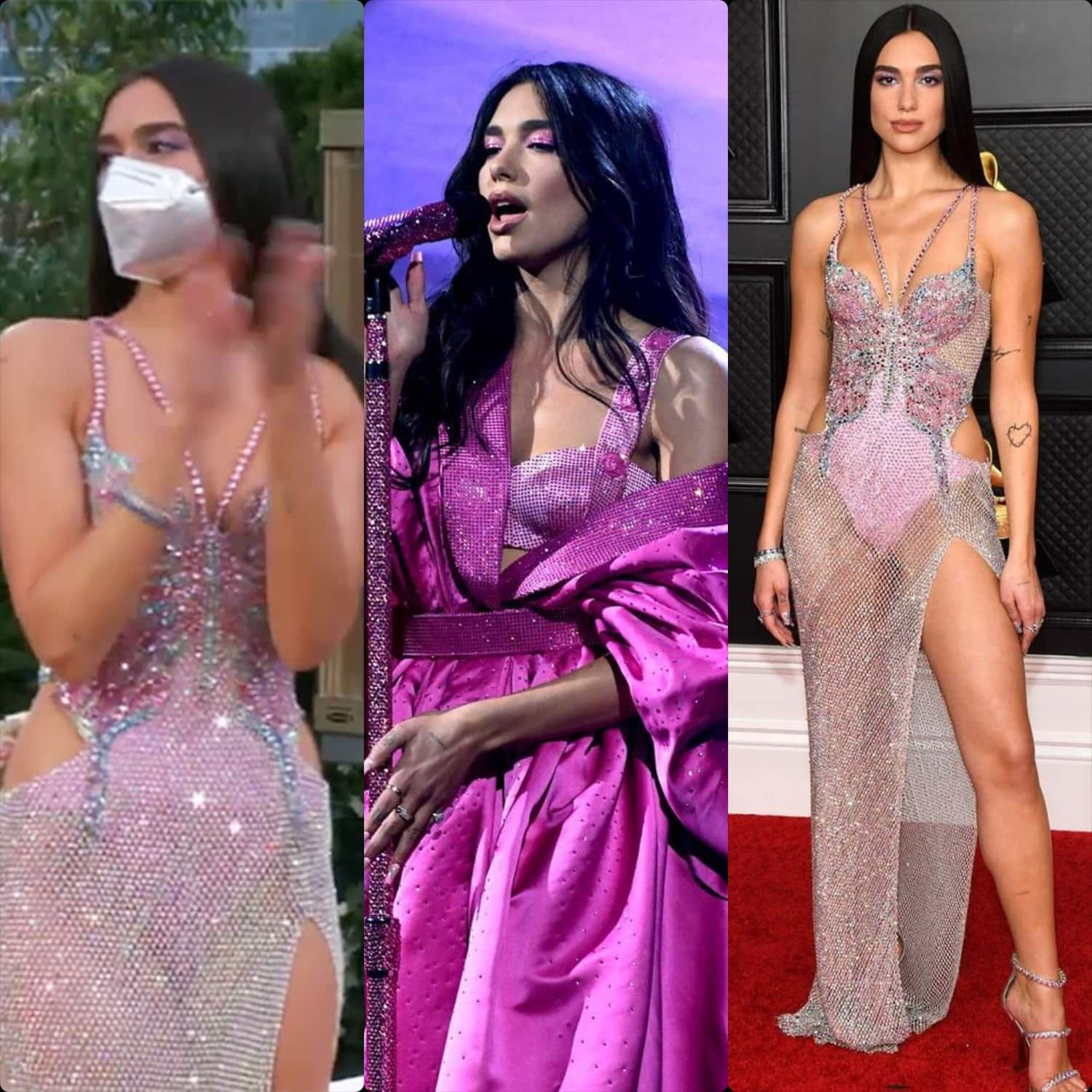 Dua Lipa in Versace at Grammy Awards 2021 by RUNWAY MAGAZINE