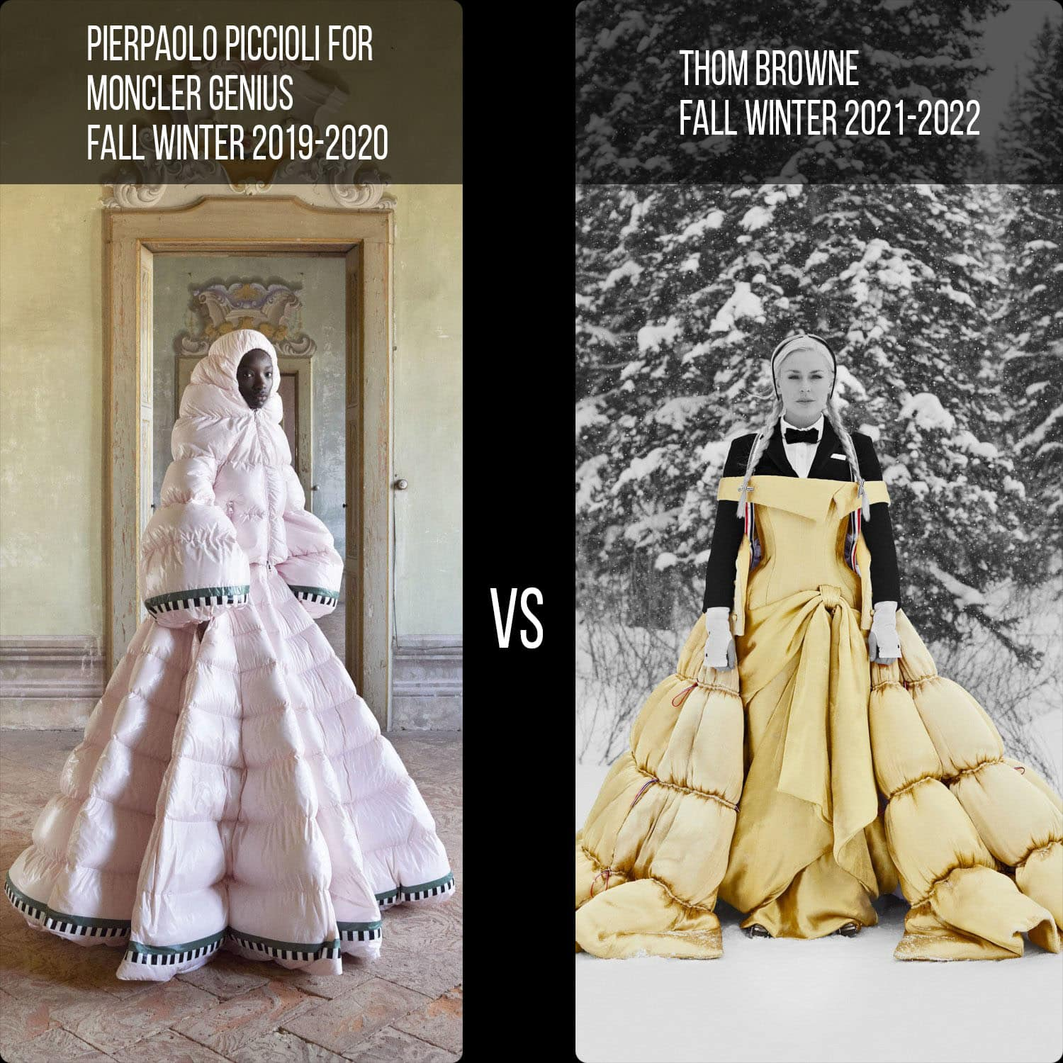 Moncler by Pierpaolo Piccioli Fall 2019-2020 vs Thome Browne Fall 2021-2022