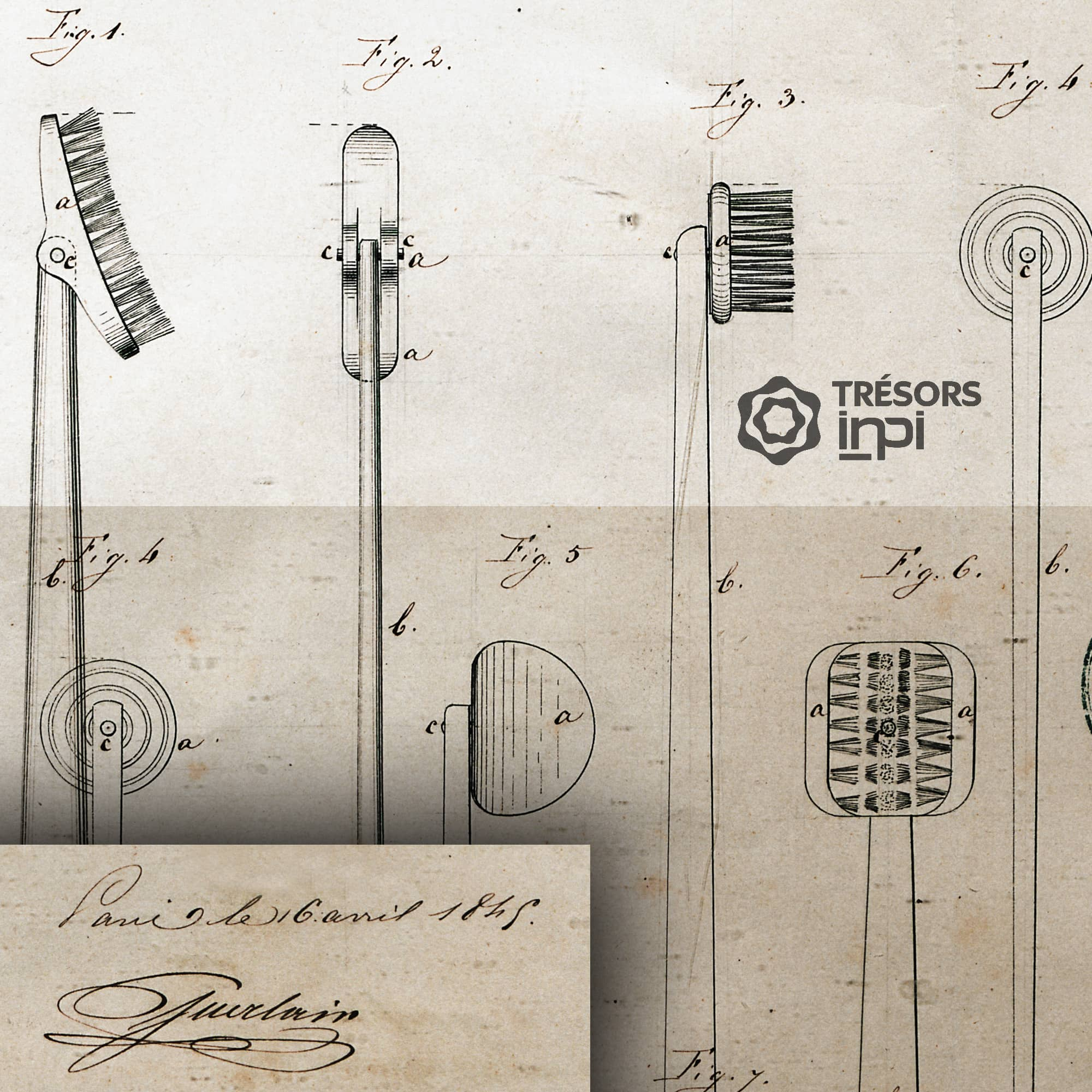 First patents filed by Pierre-François-Pascal Guerlain 1845 - Patent for Pivot Toothbrushes -Tresors INPI by RUNWAY MAGAZINE